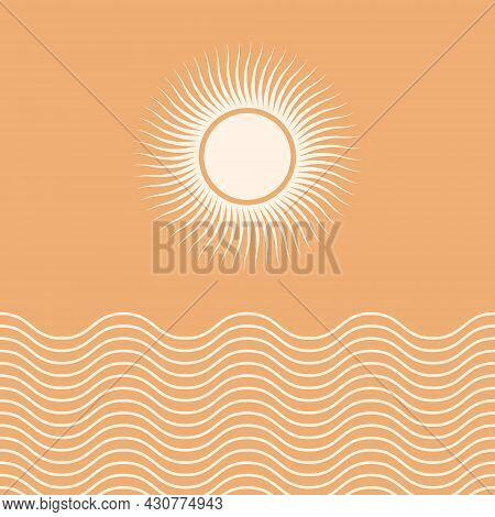 Abstract Landscape With Sun. Contemporary Aesthetic Background With Sun And Geometric Shapes. Boho W