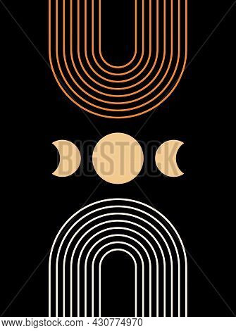 Abstract  Poster With Moon On Black Background. Line Art. Contemporary  Geometric Composition. Boho