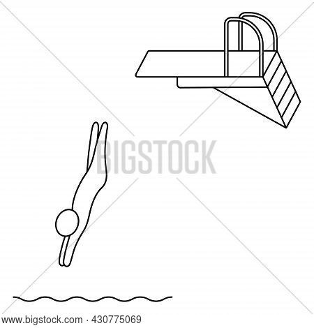 Jumping Into The Water From A Springboard. The Athlete Jumps From The Rack Backwards. Sketch. Vector