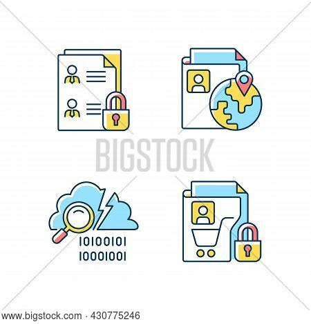 Maintain Information Security Rgb Color Icons Set. Employee Files. Ethnic Origin. Data Breach Detect