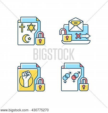 Data Confidentiality Rgb Color Icons Set. Religious Beliefs Info. Unencrypted Email. Trade Union Mem