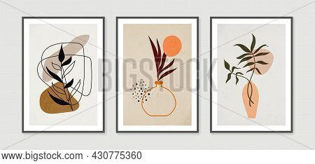 Botanical Wall Art Vector Set. Collection Of Contemporary Art Posters. Minimal And Natural Wall Art.