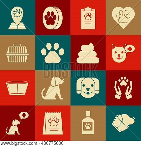 Set Veterinary Clinic Symbol, Hands With Animals Footprint, Clipboard Medical Clinical Record Pet, P