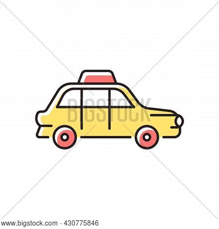 London Cab Rgb Color Icon. Hackney Carriage. Minicab Service. Public Transportation. Pick Passengers