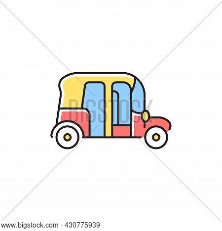Auto Rickshaw Rgb Color Icon. Three-wheeler Taxi. Passenger Car Equivalent. Urban Transport. Thai Tu