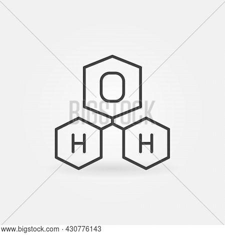 H2o Water Molecule Vector Concept Linear Icon