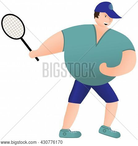 Tennis Player With A Racket. Man Playing Tennis
