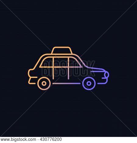 London Cab Gradient Vector Icon For Dark Theme. Hackney Carriage. Minicab Service. Public Transporta