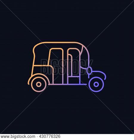 Auto Rickshaw Gradient Vector Icon For Dark Theme. Three-wheeler Taxi. Passenger Car Equivalent. Urb