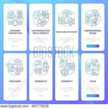 Developing Product Onboarding Mobile App Page Screens Set. Fundamental Principles Walkthrough 4 Step