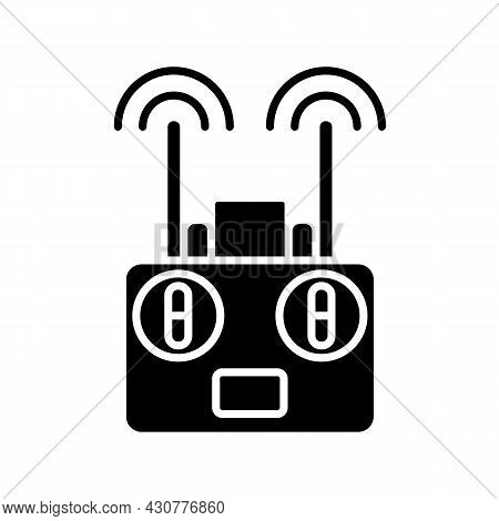 Remote Controller Black Glyph Manual Label Icon. Drone Radio Transmitter. Quadcopter Flight Control.