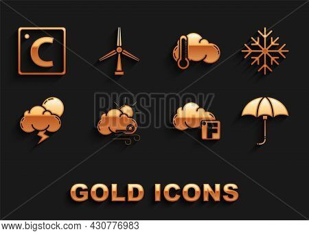 Set Windy Weather, Snowflake, Classic Elegant Opened Umbrella, Fahrenheit And Cloud, Storm, Thermome
