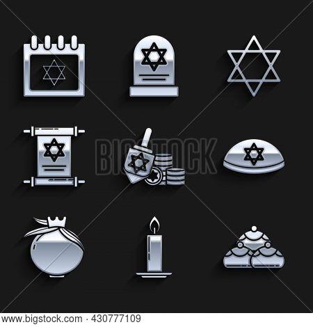 Set Hanukkah Dreidel And Coin, Burning Candle Candlestick, Jewish Sweet Bakery, Kippah With Star Of