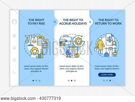 Maternity Leave Rights Onboarding Vector Template. Responsive Mobile Website With Icons. Web Page Wa
