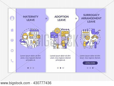 Maternity Leave Types Onboarding Vector Template. Responsive Mobile Website With Icons. Web Page Wal