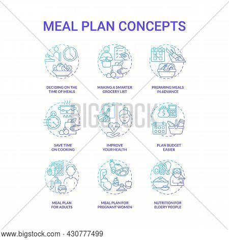 Meal Plan Related Blue Gradient Concept Icons Set. Preparing Food Idea Thin Line Color Illustrations