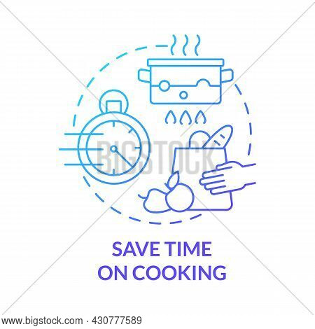 Save Time On Cooking Blue Gradient Concept Icon. Spend Less Time On Cooking Abstract Idea Thin Line