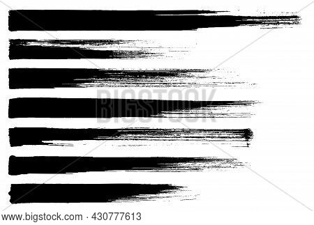 Brush Strokes Set. Sponge Strokes Of Ink Paint, Grunge Texture. Dirty Dry Paint Stains Set, Vector D