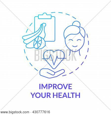 Improve Your Health Blue Gradient Concept Icon. Healthy Products Abstract Idea Thin Line Illustratio