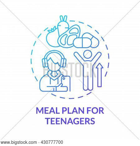 Meal Plan For Teenagers Blue Gradient Concept Icon. Healthy Menu For Teens Abstract Idea Thin Line I