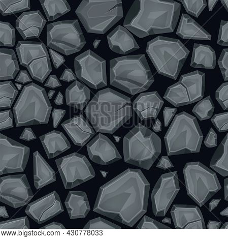 Stone Vector Seamless Pattern, Cracked Rock Top View Background, Nature Game Tile, Gray Boulder. Env