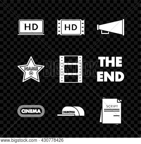 Set Laptop Screen With Hd Video Technology, Megaphone, Cinema Poster Design Template, Cap Inscriptio