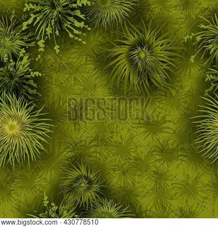 Green Grass Seamless Pattern, Vector Field Texture, Nature Game Environment Background. Garden Bushe