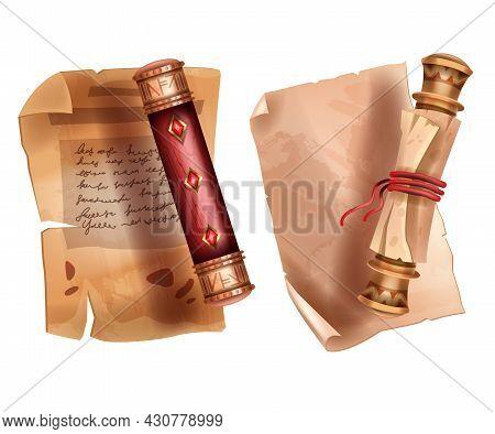 Old Parchment Scroll Paper, Vector Ancient Papyrus Document Illustration, Antique Vintage Manuscript