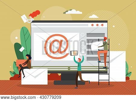 Computer With Envelope And Email Sign On Screen, Tiny People With Messages, Flat Vector Illustration
