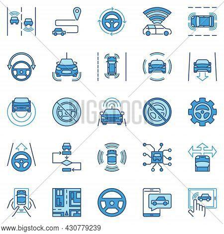 Autonomous Vehicle Av Colored Icons - Vector Car Autopilot Signs