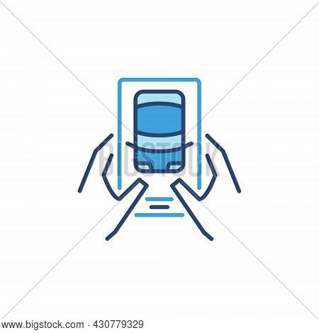 Driverless Car Connected Via Smartphone Vector Blue Icon