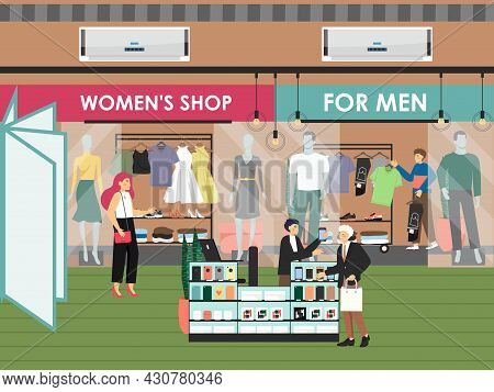 Shopping And Entertainment Center With Fashion Clothing Shops And Boutiques, Flat Vector Illustratio