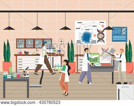 Scientists Conducting Scientific Experiments, Studying Genes, Flat Vector Illustration. Genetic Scie