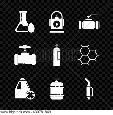 Set Oil Petrol Test Tube, Petrol Or Gas Station, Industry Metallic Pipes And Valve, Antifreeze Canis