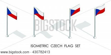 Isometric Flag Of Czech In Static Position And In Motion On Flagpole. 3d Vector