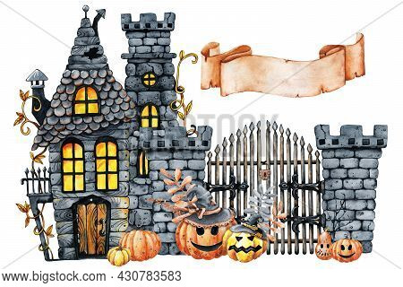 Vintage Castle And Horrible Smiling Pumpkins For Halloween. Hand Drawn Watercolor Illustration Isola