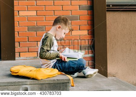 Back To School. Cute Child With Backpack, Holding Notepad And Training Books Going To School. Boy Pu