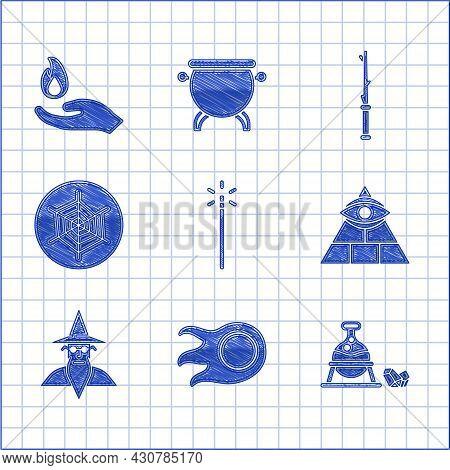 Set Magic Wand, Fireball, Witch Cauldron Magic Stone, Masons, Wizard Warlock, Spider Web, And Hand H