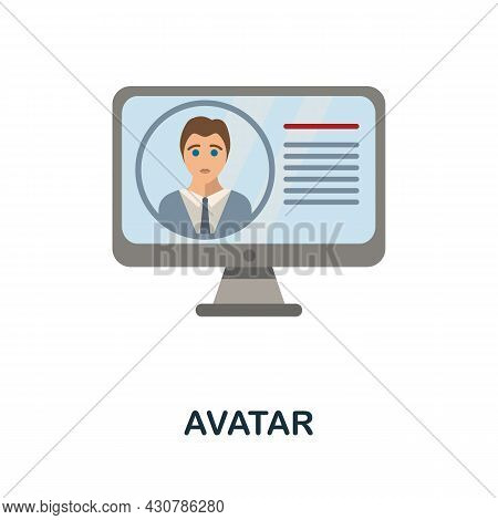 Avatar Flat Icon. Simple Sign From Gamification Collection. Creative Avatar Icon Illustration For We