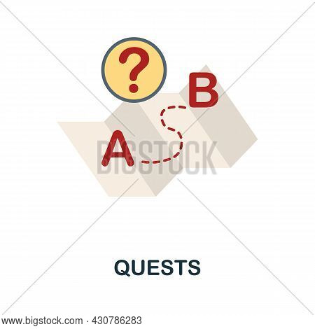 Quests Flat Icon. Simple Sign From Gamification Collection. Creative Quests Icon Illustration For We