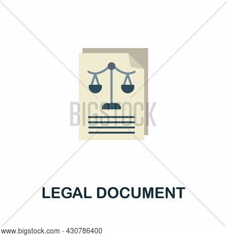 Legal Document Icon. Flat Sign Element From Law Collection. Creative Legal Document Icon For Web Des