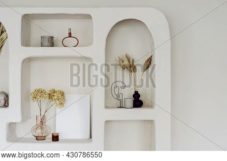 Room Interior With Wall Design, Decor At Niche Shelf. Modern Home Decoration, Indoors Apartment Styl