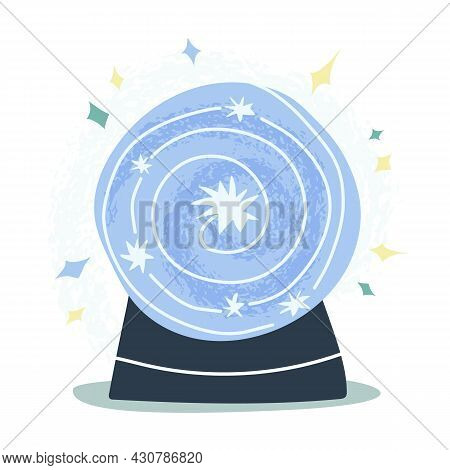 Magic Crystal Ball, Flickering Future Teller With Stars In The Middle. Mystic, Fortune Telling, Astr