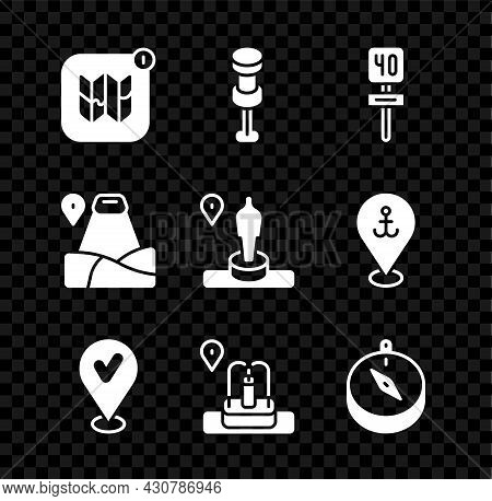 Set Infographic Of City Map, Push Pin, Road Traffic Sign, Location With Check Mark, Fountain, Compas