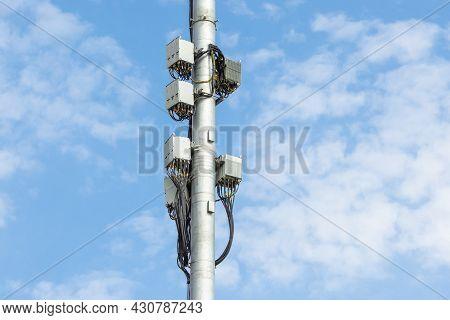 Cellular Macro Base Transceiver Station. Telecommunication Tower. Wireless Communication Antenna Tra