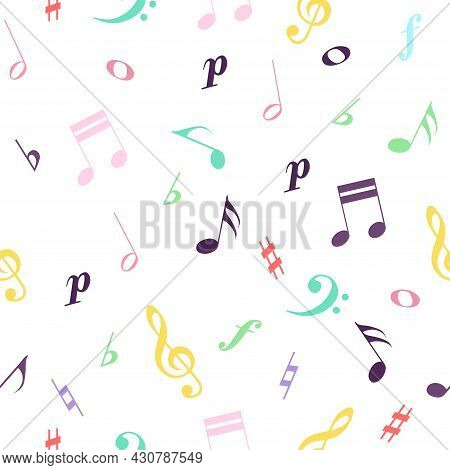 Transparent Background With Colorful Notes And Treble, Bass Clef. Seamless Pattern. Music Class, Sch