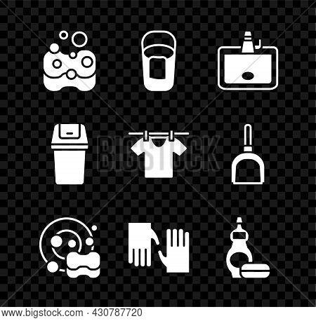 Set Sponge, Bucket With Rag, Washbasin, Washing Dishes, Rubber Gloves, Dishwashing Liquid Bottle, Tr