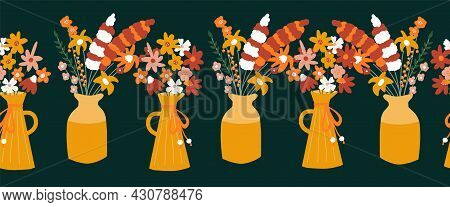 Autumn Flower Vase Seamless Vector Border. Repeating Horizontal Pattern With Colorful Fall Flowers.