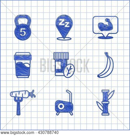 Set Vitamin Pill, Stationary Bicycle, Bamboo, Banana, Carrot Fork, Glass With Water, Bodybuilder Mus