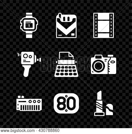 Set Wrist Watch, Cigarettes Pack Box, Play Video, Music Synthesizer, 80s Retro, Lipstick, Cinema Cam